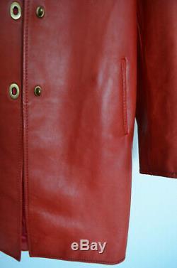 Vintage Miu Miu Veste Manteau Cuir Rouge 38 Taille Xs-med Us 4-6 Au 8-10
