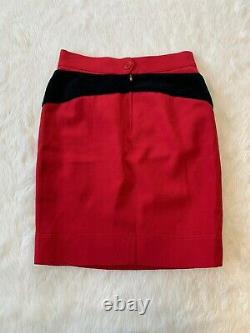 Vintage Moschino Cheap & Chic Classic Red Wool Question Mark Jupe Taille Us 10