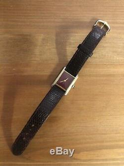 Vintage Must De Cartier Vermeil Réservoir En Cuir D'origine Bracelet Handwind 20 MM W337