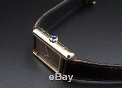 Vintage Must De Cartier Vermeil Réservoir En Cuir D'origine Bracelet Rare Cadran De 20 MM W337
