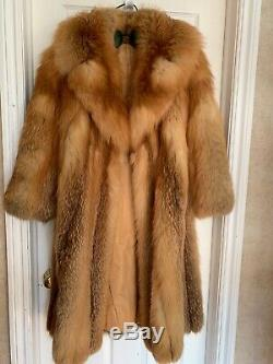 Vintage Natural Red Fox Fourrure Véritable Pleine Manteau Petit