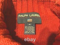 Vintage Ralph Lauren Polo Sport Equestrian Bear Hand Knit Sweater Medium Rare