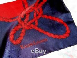Vintage Ralph Lauren Yacht Club Polo Foulard En Soie Drapeau Multicolor Or Rouge Bleu