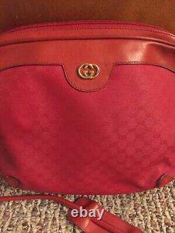 Vintage Rare Rouge Gucci Gg Crossbody Monogram Sac À Épaulettes