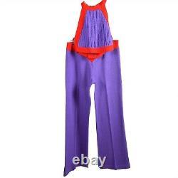 Vintage Sweater Knit Halter Top & Flare Pantalons Set Rouge Violet Petite