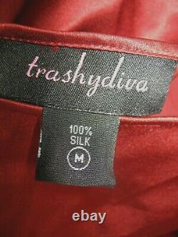 Vintage Trashy Diva 100% Soie Charmeuse Bias Coupé Maxi Avec Train Robe De Couleur M