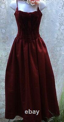 Vintage Velours Rouge Foncé Satin Gothique Bustier Robe De Bal Maxi Prom Robe