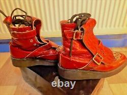 Vintage Vivienne Westwood Seditionaries Punk Bottes Peau De Croco Verni Rouge Boy Sz 4