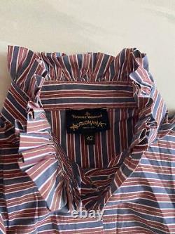 Vivienne Westwood Anglomania Chemise Vintage Rouge Et Bleu Rayures Taille 42 (royaume-uni 8 10)