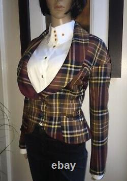 Vivienne Westwood Anglomania Red Black Mustard Tartan Check Jacket 44 Royaume-uni12