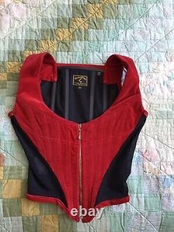 Vivienne Westwood Rare Vintage Red Velvet Corset Royaume-uni 8 It40 Jamais Porté