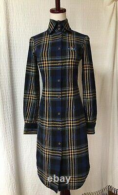 Vivienne Westwood Vintage Rouge Label Haut Collé Tartan Robe De Chemise Italie 90s