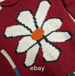 Vtg 90s Ecuador Made Hand Knit Wool Double Sided Red Flower Sweater L