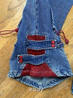 Vtg 90s Macgirl Bleu Rouge Baggy Rave Skater Pants Jeans Rare Macgear Jnco Sz 15