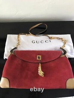 Vtg Authentique Tom Ford Era Gucci Red Suede Lion Tête Sac D'épaule Purse