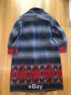 Vtg Couverture Beacon Art Déco Aztèque Robe Ombre Wrap Blue Coat Rouge L Pour Homme / Femmes