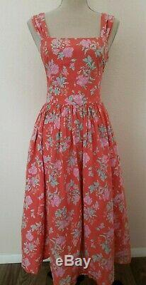 Vtg Laura Ashley Robe Vintage Des Années 80 90 Sz 12 Red Floral Français Pays Sundress