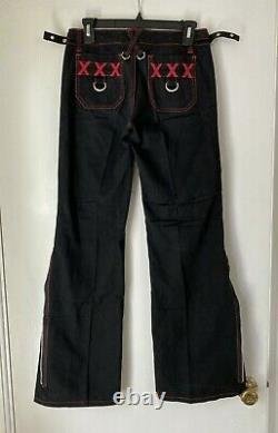 Vtg Tripp Nyc Femmes Taille 1 Rouge Pantalon Noir Punk Rock Dentelle Haut Goth Emo
