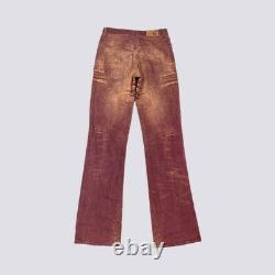 Vtg Y2k Pastel Sandblast Rouge Roberto Just Cavalli Jeans Pantalons Uk 10/12 Tall