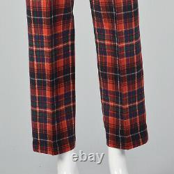 Xs 1970 Laine Pendleton Pantalon À Carreaux Vintage Rouge Plat Doublé Devant Pieds Fuselés