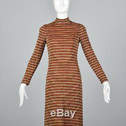 Xs 1970 Robe Mollie Parnis Boutique Manches Longues Maxi Robe En Maille Lurex 70 Vtg