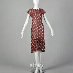 Xxs 1930 Robe Rouge Blanc Polka Dot Sheer Silk Mousseline Noël Vacances 30s Vtg
