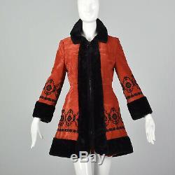 Xxs 1970 Rouge Princesse Velveteen Manteau Velours Veste Brodée Russe Des Années 1960