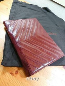 Ysl Yves Saint Laurent Authentic Clutch Bag V Stitch Cuir Vintage Wine-red